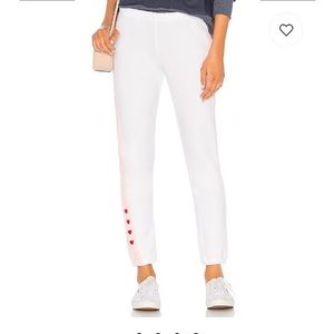 Wildfox white hearts love track sweatpants joggers